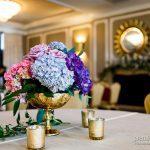 Hydrangea wedding floral centerpiece